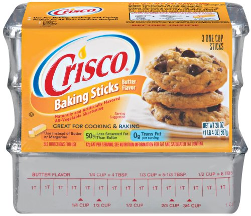 Crisco Baking Sticks Butter Flavor All-Vegetable Shortening, 20-Ounce (Pack of 6)