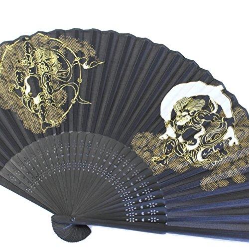 紳士用扇子 和柄 風神雷神の京せんす 差し袋付