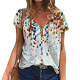 Vialogry Camiseta de manga corta con cuello en V para mujer, estilo casual, estampado floral