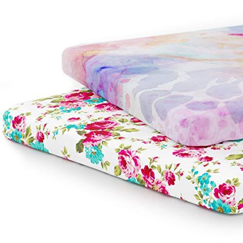 Bettwäsche-Set für Babybett, hochwertige Jersey-Baumwolle, superweich und sicher für Babys, Universal-Spannbettlaken für Standard-Baby- oder Kleinkind-Matratze, Weiß, 2 Stück
