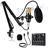 Condenser Microphone,Studio Microphone Equipment,with bm 800 Microphone Stand,Sound Card,Shock Mount,Pop Filter for Recording Music,Skype,YouTube,Karaoke,Gaming Recording