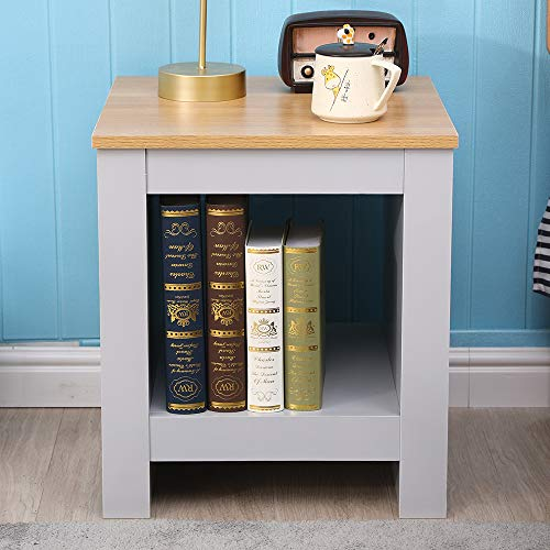 DONEWELL Living Room Furniture 2/3/4 Piece Set Lamp Table Sliding Top Coffee Table TV Stand Modern Simple Practical White+Oak/Grey+Oak (Lamp Table-Grey)