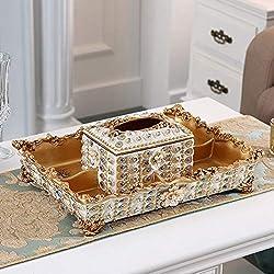 Tissue Box Four Grid Dried Fruit Plate With Rhinestone