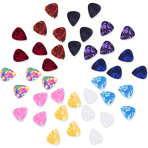 Mischfarbige 0,46 mm Gitarrenplektren Zelluloid Plektren Pick Plektrum mit der Metallbox, 40 Stück