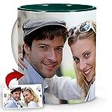 LolaPix Tasse a Cafe Personnalisable avec Photo. Cadeaux personnalisées avec Photo. Tasses avec Couleur Intérieure au Choix. Tasse Céramique personnalisée. Tasse avec Couleur Intérieur Vert Foncé