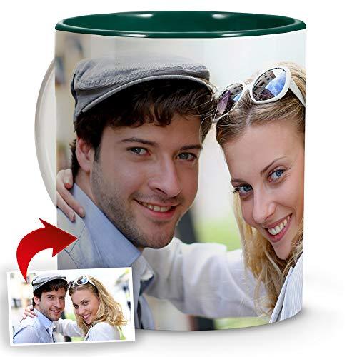 Tazza Colazione con Foto. Regali Personalizzati con Foto. Tazza Personalizzata Ceramica. Tazza con Colore Interno Verde Scuro