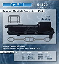 OMC V-8 EXHAUST MANIFOLD-PORT (GM)   GLM Part Number: 51420; OMC Part Number: 912442