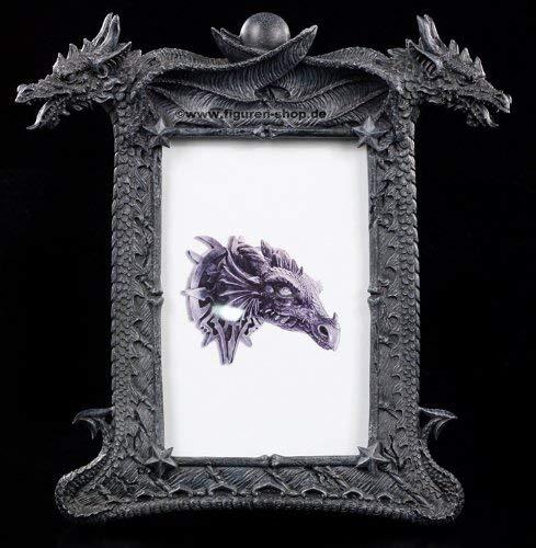 Figuren-Shop.de Drachen Bilderrahmen - Zwei Drachenköpfe - Fantasy Gothic