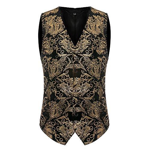 Zarupeng Art- en Wijze Vintage formele zaken mannen geborduurd vest V-hals vest Slim Fit jas Goud drukvest