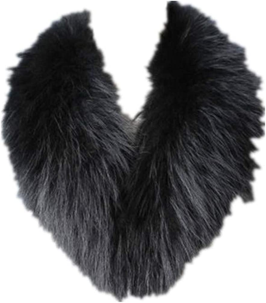 Women Real Raccoon Fur Collar Neckwear Scarf with Clamp Clip Pink Red Blue Brown Black Green Color