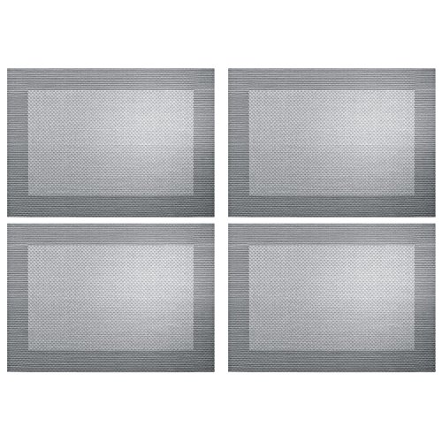 ASA Selection 78088076 Weboptik Tischset, 46 x 33 cm, PVC, silber/schwarz (4er Pack)