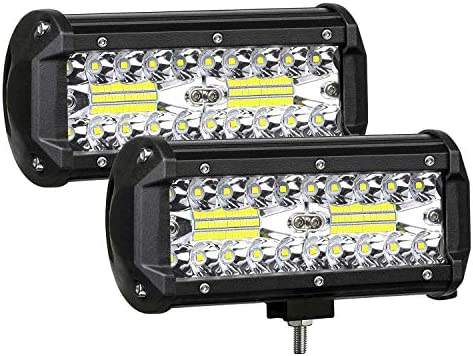 AUZKIN 7 Inches LED Light Bar Submersible driving lights 240W 24000lm LED Pods Spot Flood Combo Beam Off Road lights fog lights for Truck Trailer Pickup Boat Car SUV ATV RV Jeep,2Pcs
