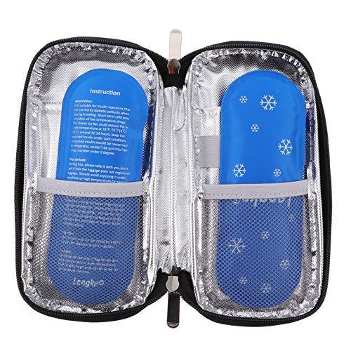 EXCEART Bolsa de Viaje Portátil con Refrigerador de Insulina Bolsa de Enfriamiento con Aislamiento de Medicamentos para Diabéticos Médicos Bolsa de Viaje con 2 Bolsas de Hielo