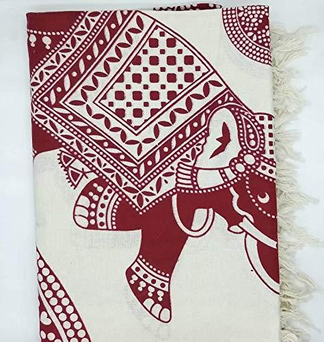 Goodforgoods Decoración de Mandala y Elefantes para la Playa, Piscina, tapicería Cubre Sofa, Mesa sillón, decoración Pared. 100% algodón 210x240 cm. (Rojo y Blanco, 210x240 cm)