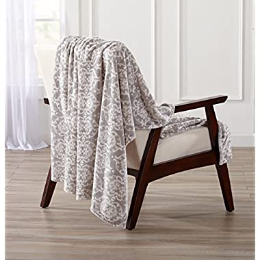 Great Bay Home Printed Ultra Velvet Plush Super Soft Oversize Throw Blanket. Lightweight, Warm Blanket with Unique Printed Pattern. Kingston Collection By Brand. (Silver Grey)