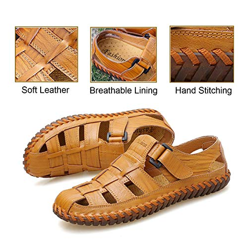 Qiucdzi Mens Sport Sandals Breathable Outdoor Fisherman Shoes Adjustable Closed Toe Summer Leather Loafters Light Brown