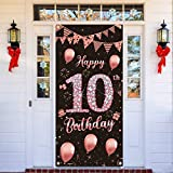 Lnlofen 10th Birthday Door Banner Decorations for Girls, Large 10 Year Old Birthday Party Door Cover Backdrop Supplies, Happy Ten Birthday Poster Sign(Rose Gold)