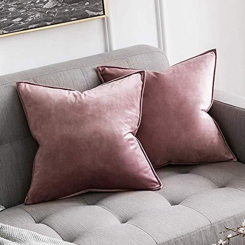 MIULEE 2er Set Samt Kissenbezug Flansch Kissenhülle Dekorative Dekokissen mit Verstecktem Reißverschluss Sofa Schlafzimmer Auto 16 x 16 Inch 40 x 40 cm Marmelade