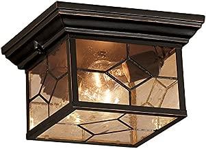 Portfolio Litshire 9.05-in W Oil Rubbed Bronze Outdoor Flush-Mount Light