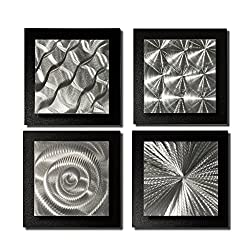 Statements2000 Set of 4 Handmade Black & Silver Metal Wall Art Accents by Jon Allen, 4 Squares Black
