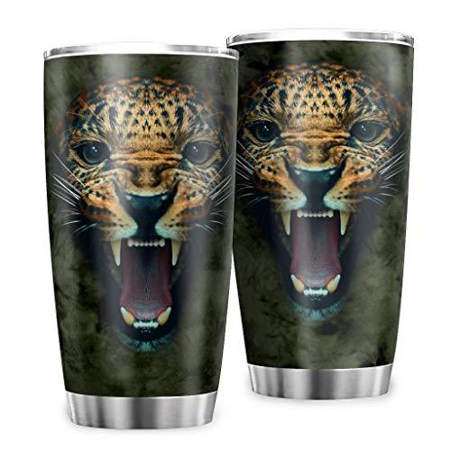 Zaclay Vaso Leopard Botella Vauum – Botella con tapa para bebidas heladas, blanco, 600 ml
