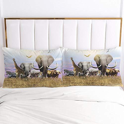 lhmlyl Funda De Almohada 3D Fábrica Digital Funda De Almohada Animal Elefante Patrón Edredón Cubierta De Varios Tamaños-Elefante 004-Blanco-P_51X91Cm 2 Piezas