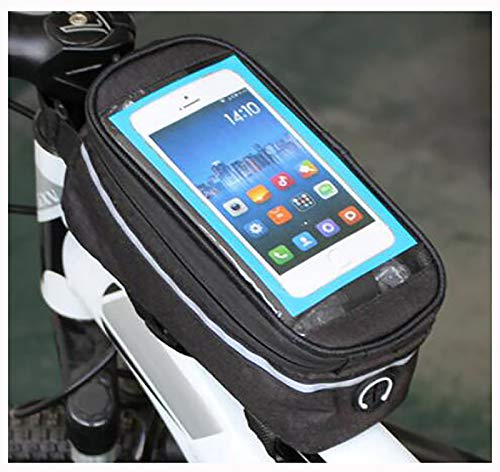 Bolsas de Bicicleta,Bolsa Impermeable para Bicicleta,Bolsa Táctil de Tubo Superior Delantero con Orificio para Auriculares para Teléfono Inteligente por Debajo de 6,5 Pulgadas-Top flip negro 19.5x10x1