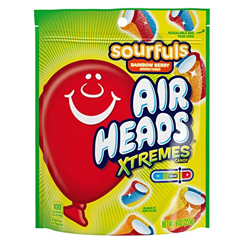 Airheads Xtremes Sourfuls Resealable Stand Up Bag, Rainbow Berry, Party, Candy, 9 Ounce