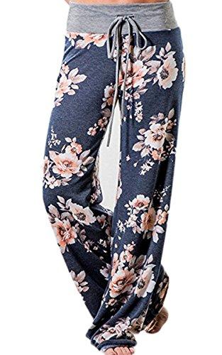 Angashion Womens High Waist Casual Floral Print Drawstring Wide Leg Pants