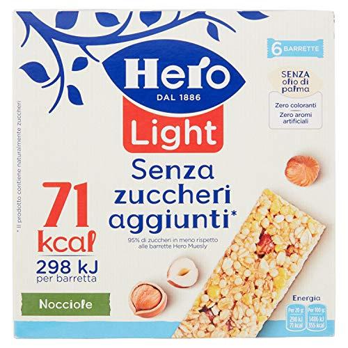 Hero Light Barrette ai Cereali Nocciola - 1 Confezione da 6x20 gr