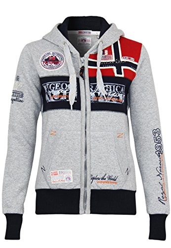 Geographical Norway Damen Sweatjacke  Flyer Lady sportlich und elegant , Grau (B.Grau), X-Large (Manufacturer Size:4)