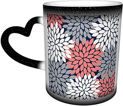 Tazas de café Estallido de flores Pétalos Estampado floral Azul marino Coral Gris Sensible al calor Taza que cambia de color en el cielo Taza de cerámica Regalos personalizados par