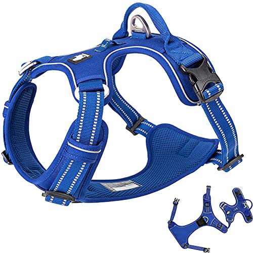 No Pull Dog Harness Reflective Dog Vest Harness with Handle Front Clip Neoprene Padded Dog Harness for Puppy Medium Large Dogs 3 Buckles Easy to Put on & Take Off Royal Blue XS