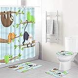 Duschvorhang, Eizard, Chamäleon, Monkey Frog Sloth, wasserdicht, für Badezimmer, Badezimmer, Dekoration, 72 x 72 cm