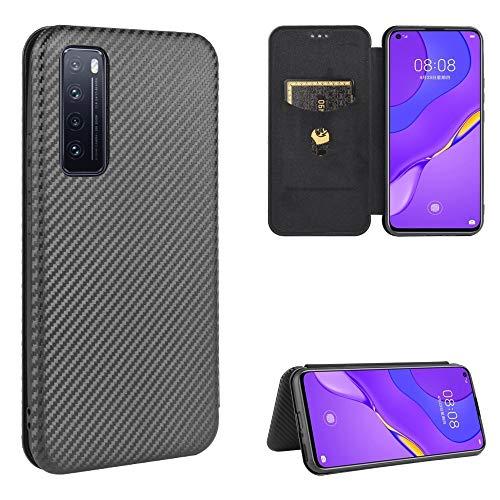 Xyamzhnn avec étui en Cuir Fente for Carte for Huawei Nova 7 5G en Fibre de Carbone Texture magnétique Retournement Horizontal TPU + PC + PU (Color : Black)