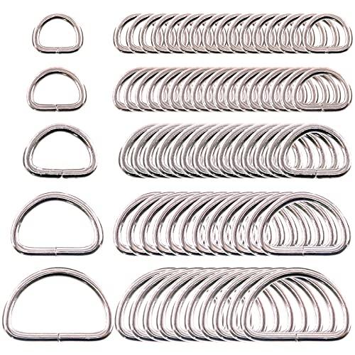 Swpeet 120 Pcs Assorted Multi-Purpose Metal D Ring Semi-Circular D Ring for Hardware Bags Ring Hand DIY Accessories - 1/2 Inch, 5/8 Inch, 3/4 Inch, 1 Inch, 5/4 Inch