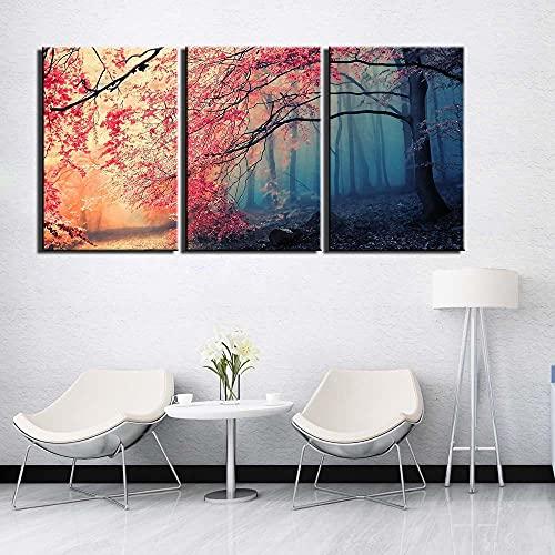 SGDJ árbol Abstracto Impresiones en Lienzo Pintura Decoración para el hogar Arte de la Pared Posters 3 Piezas con Marco
