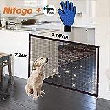 Nifogo Magic Gate Dog, Barrera de Seguridad para Perro, Plegable Portátil Puerta de Seguridad Aislada para Perros y Mascotas,Security Negro(110 x72cm)