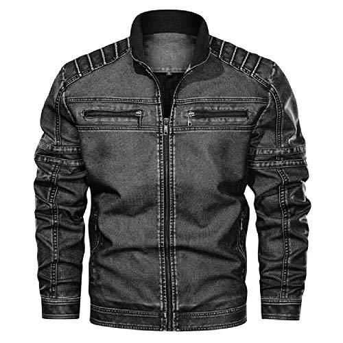 Chaqueta de moto de equitación chaqueta de mezclilla de los hombres de gran tamaño sólido lavado chaqueta de cuero con