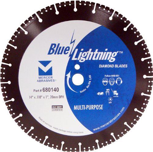 mercer abrasives 14 diamond blades Mercer Industries 680140 Blue Lightning Multi-Purpose Diamond Blade, 14