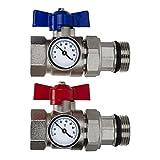 Par de válvulas de bola de 2,5 cm y medidor de temperatura para colectores de calefacción por suelo radiante