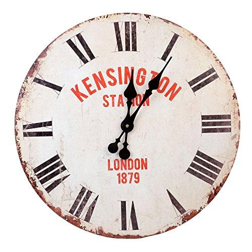 Roomando XXL wandklok klok Ø 58 cm Shabby Vintage motiefklok keukenklok Kensington Station