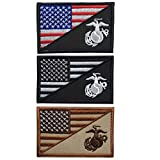 SpaceAuto Bundle 3 Pieces USA American Flag w/Marine Corps USMC Military Tactical Morale Badge Patch 3' x 1.97'