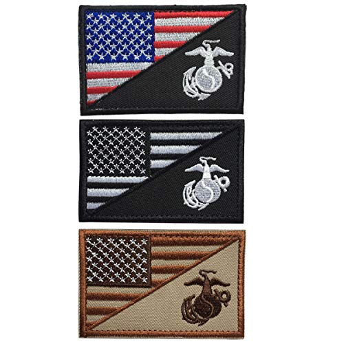 SpaceAuto Bundle 3 Pieces USA American Flag w/Marine Corps USMC Military Tactical Morale Badge Patch 3 x 1.97