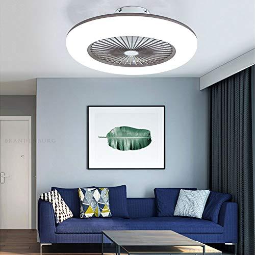 OUKANING Deckenventilator mit Beleuchtung Moderne Lüfter Schlafzimmer-Lampe Deckenleuchte 3-Farbtemperatur Dimmbar mit Fernbedienung Deckenlampe Weiß Rund Wohnzimmer Esszimmer Dekor Fanlampe(Braun)