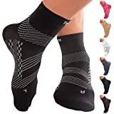 TechWare Pro Compression Sock - Ankle Support for Men & Women with Arch Support for Plantar Fasciitis. Achilles Tendon Support for Foot and Heel Pain. (Blk L)