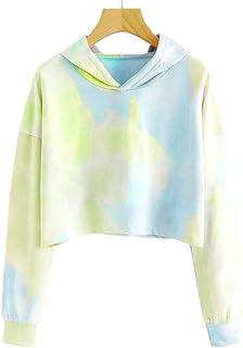 Geckatte Girls Cute Crop Tops Tie Dye Hoodies Long Sleeve Casual Sweatshirts 3-12 Yrs