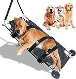YBINGA Camilla plegable con ruedas silenciosas, 45 x 22 pulgadas, capacidad máxima de 250 libras – Camilla veterinaria plegable para animales de transporte de mascotas perro de acero inoxidable