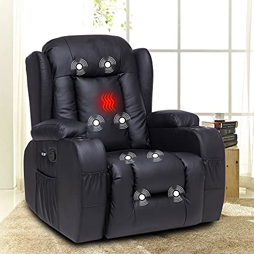XRHOM Recliner Chair for Living Room Massage Heated Reclining Chair Pu Leather Chair with Cup Holder USB Ports Sofa Chair Ergonomic Modern Home Theater Seating Recliners,Black