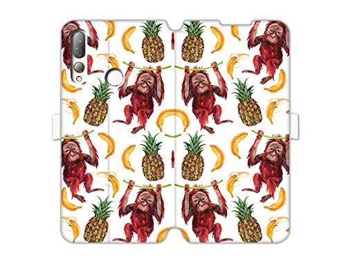 etuo Hülle für HTC Desire 19 Plus - Hülle Wallet Book Fantastic - Orang-Utans & Bananen Handyhülle Schutzhülle Etui Hülle Cover Tasche für Handy